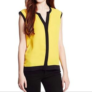 Vince Camuto Sleeveless Color Block Trim Blouse